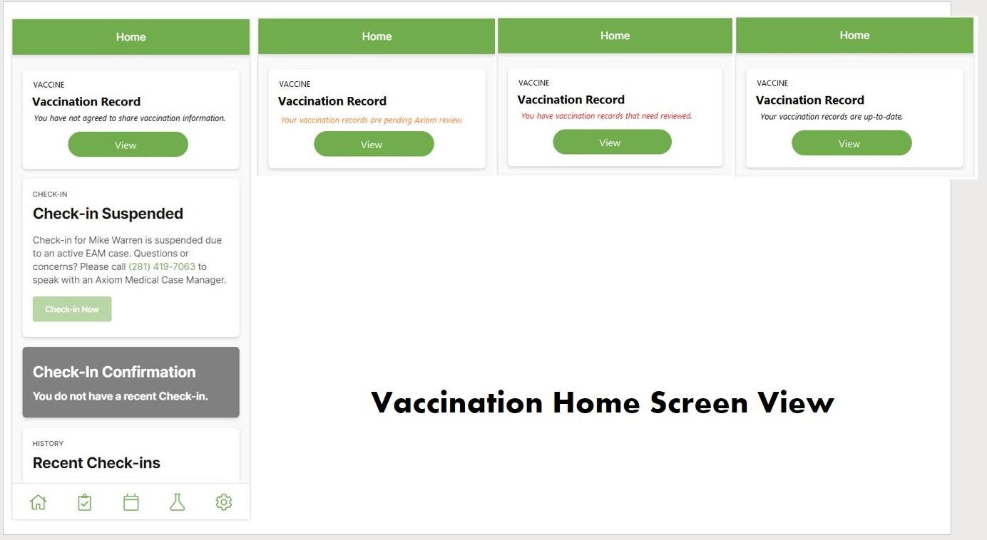 Vaccine Record Home screen